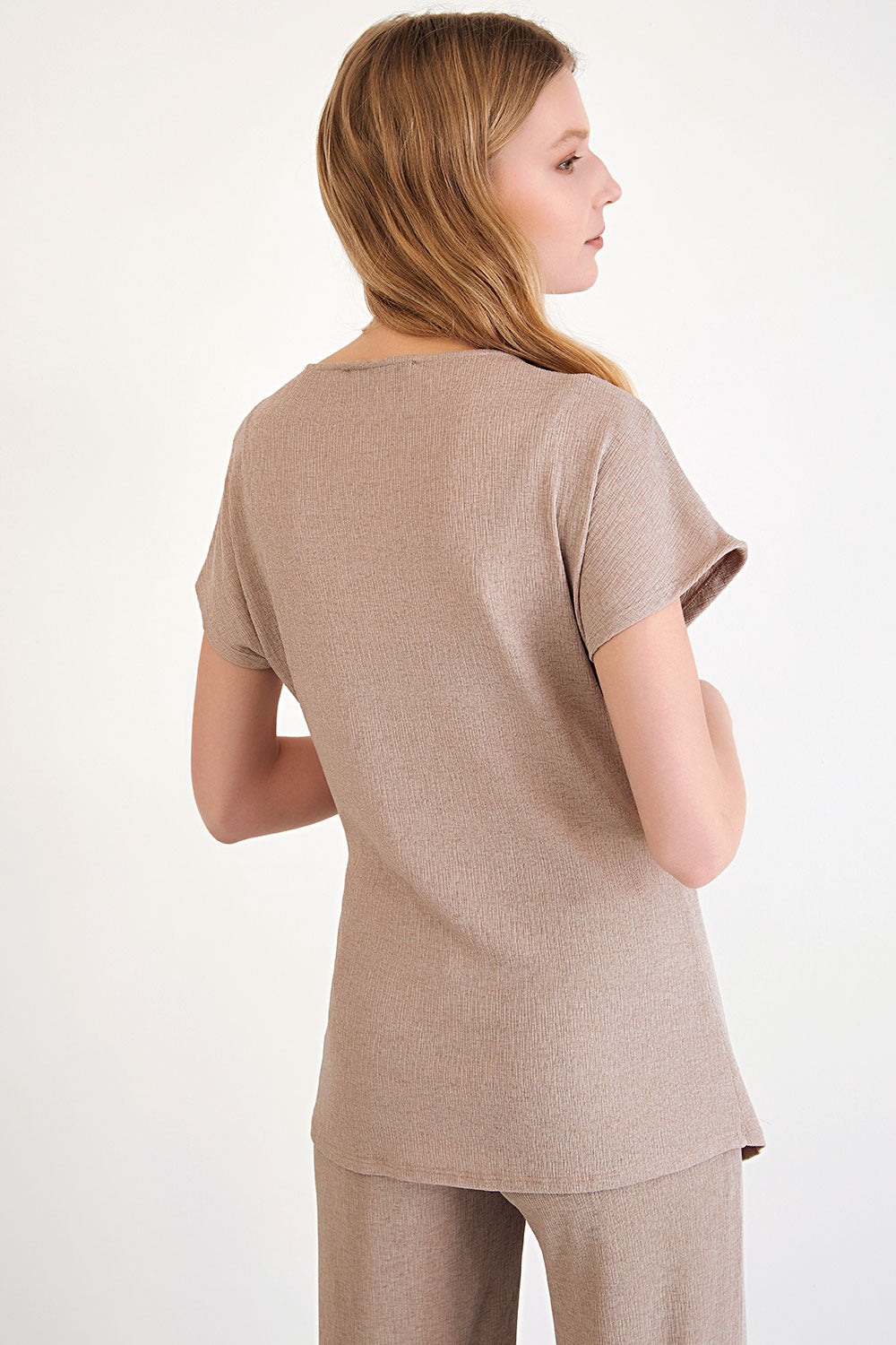 En Beige- Side Tie Blouse