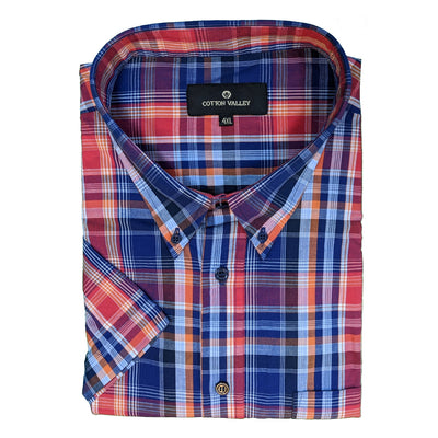 Cotton Valley S/S Shirt - 14181 - Navy / Red / Orange 1