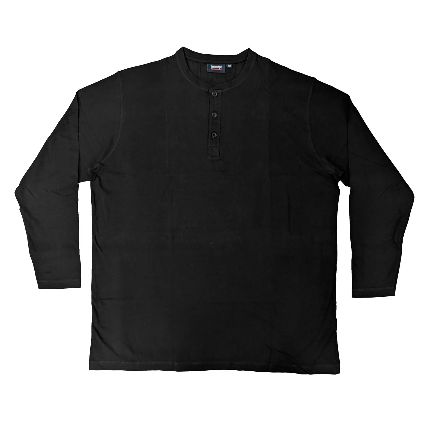 Espionage Long Sleeve Grandad Tee - T310 - Black 1