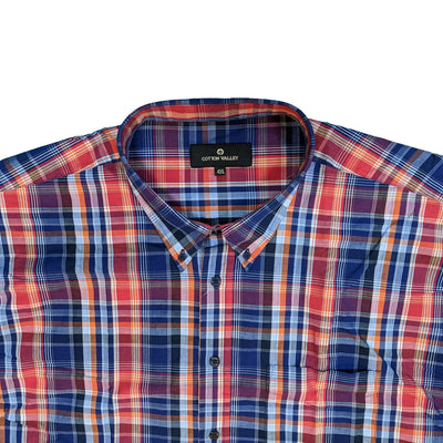 Cotton Valley S/S Shirt - 14181 - Navy / Red / Orange 3