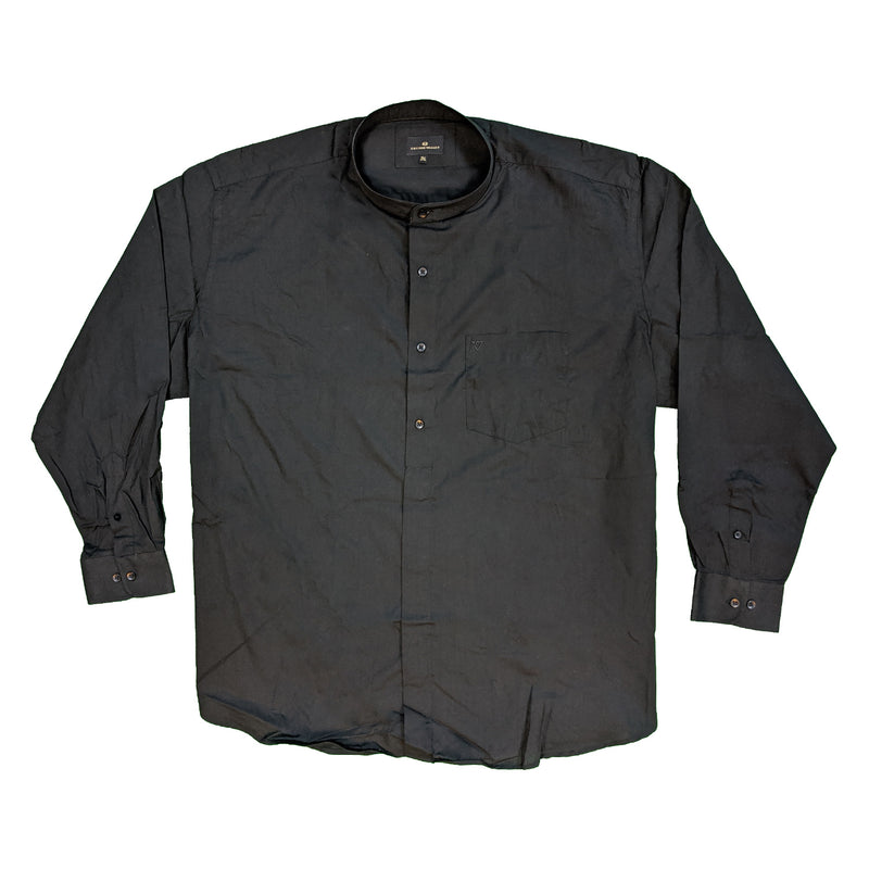 Cotton Valley L/S Grandad Collar Shirt - 15615 - Black 1