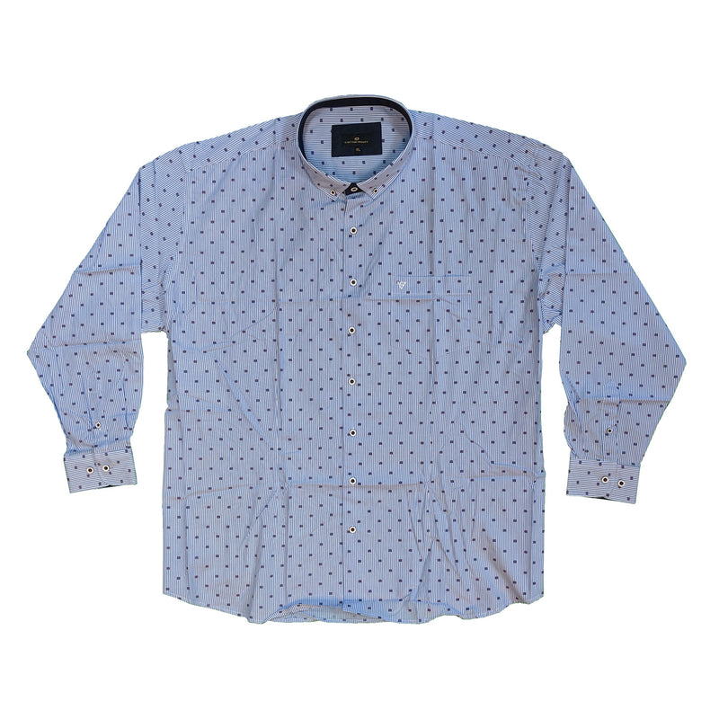 Cotton Valley L/S Stripe Shirt - 15656 - Blue / White 1