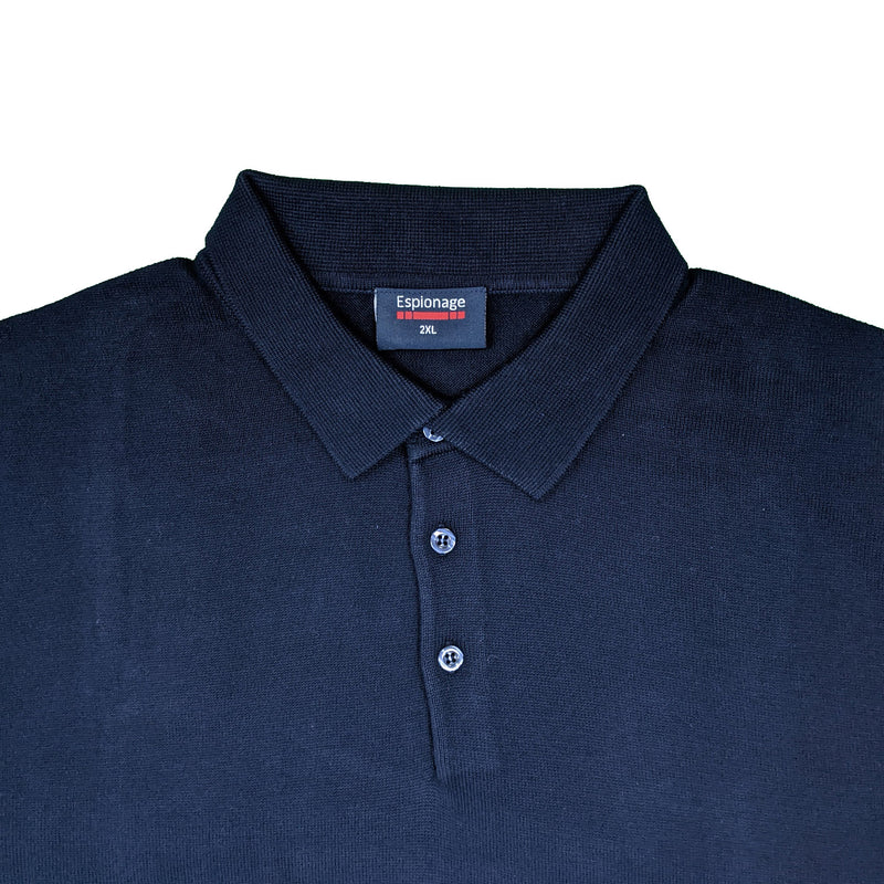 Espionage Long Sleeve Polo Jumper - KW058 - Navy