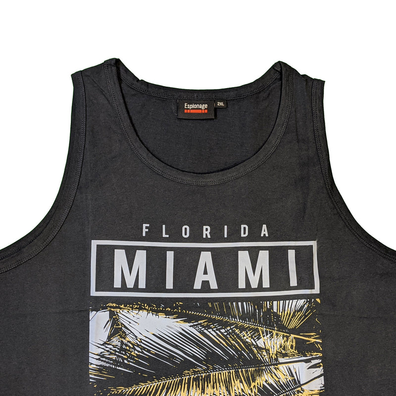 Espionage Miami Print Vest - T299 - Navy 1
