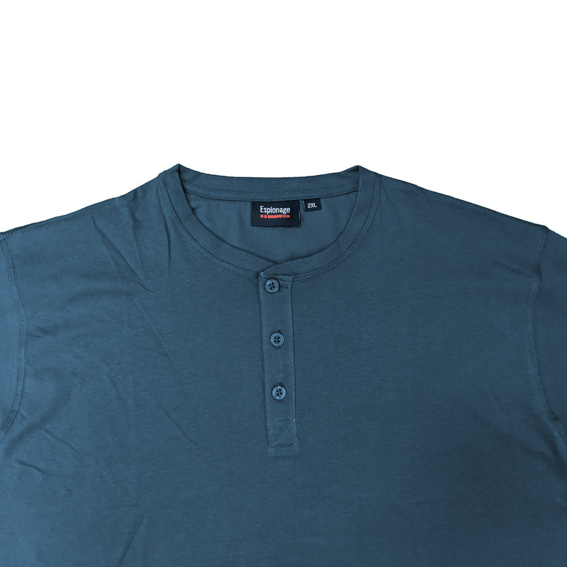 Espionage Long Sleeve Grandad Tee - T310 - Mid Blue 1