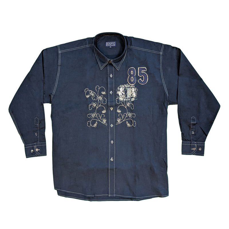 Haft L/S Shirt - Royal - Navy 1