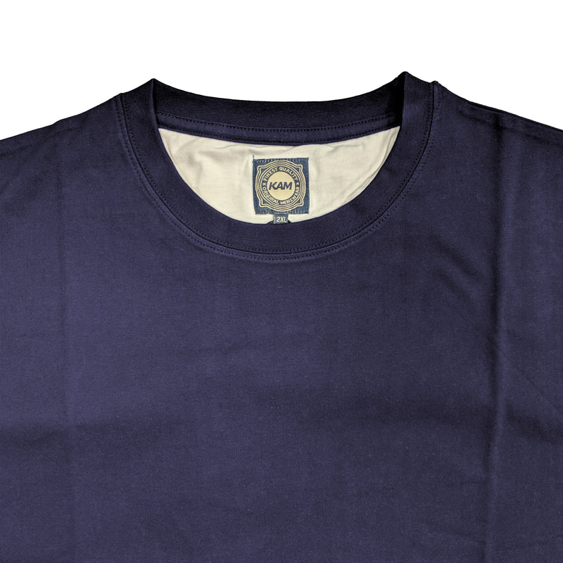 Kam Plain Round Neck T-Shirt - KBS500 - Navy 1