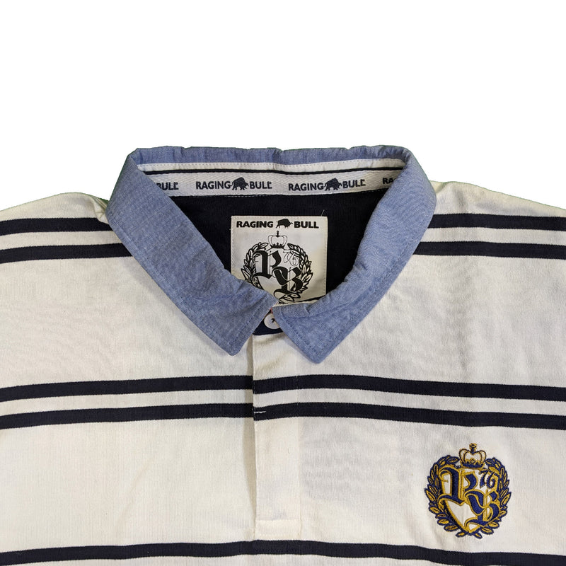 Raging Bull Double Stripe Crest Rugby Polo - S1422 - White 1