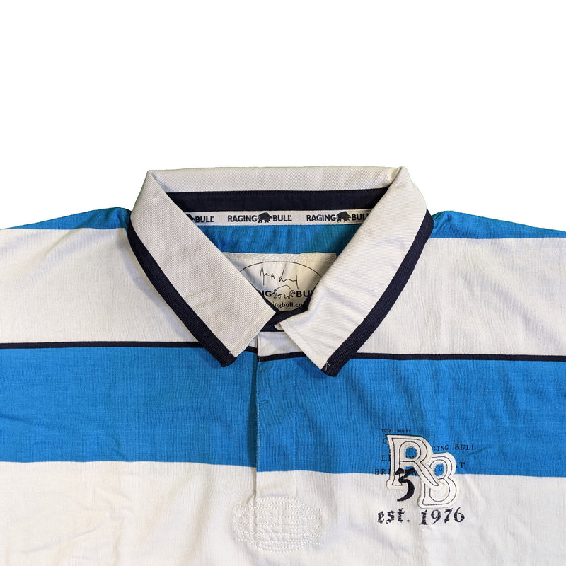 Raging Bull Rugby Polo - SS1336 - Blue / White 1