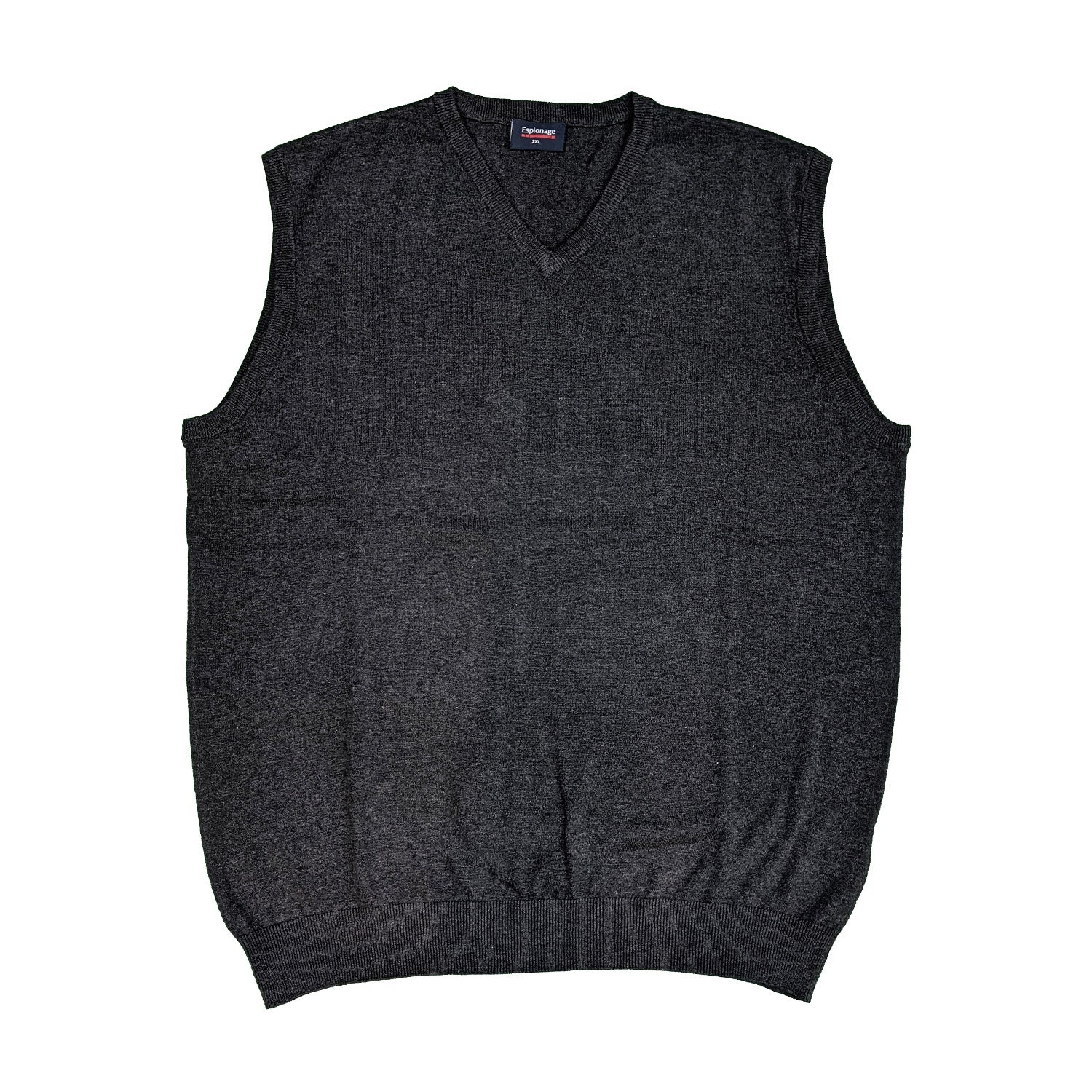 Espionage V Neck Sleeveless Pullover - KW032 - Charcoal Marl