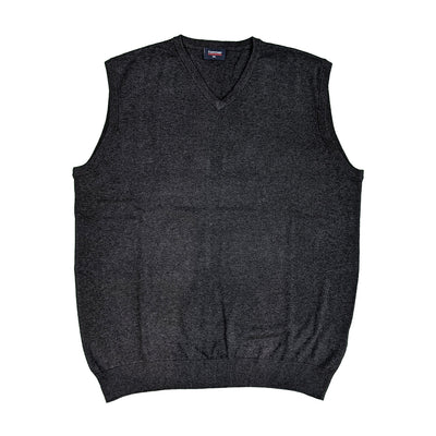 Espionage V Neck Sleeveless Pullover - KW032 - Charcoal Marl 1