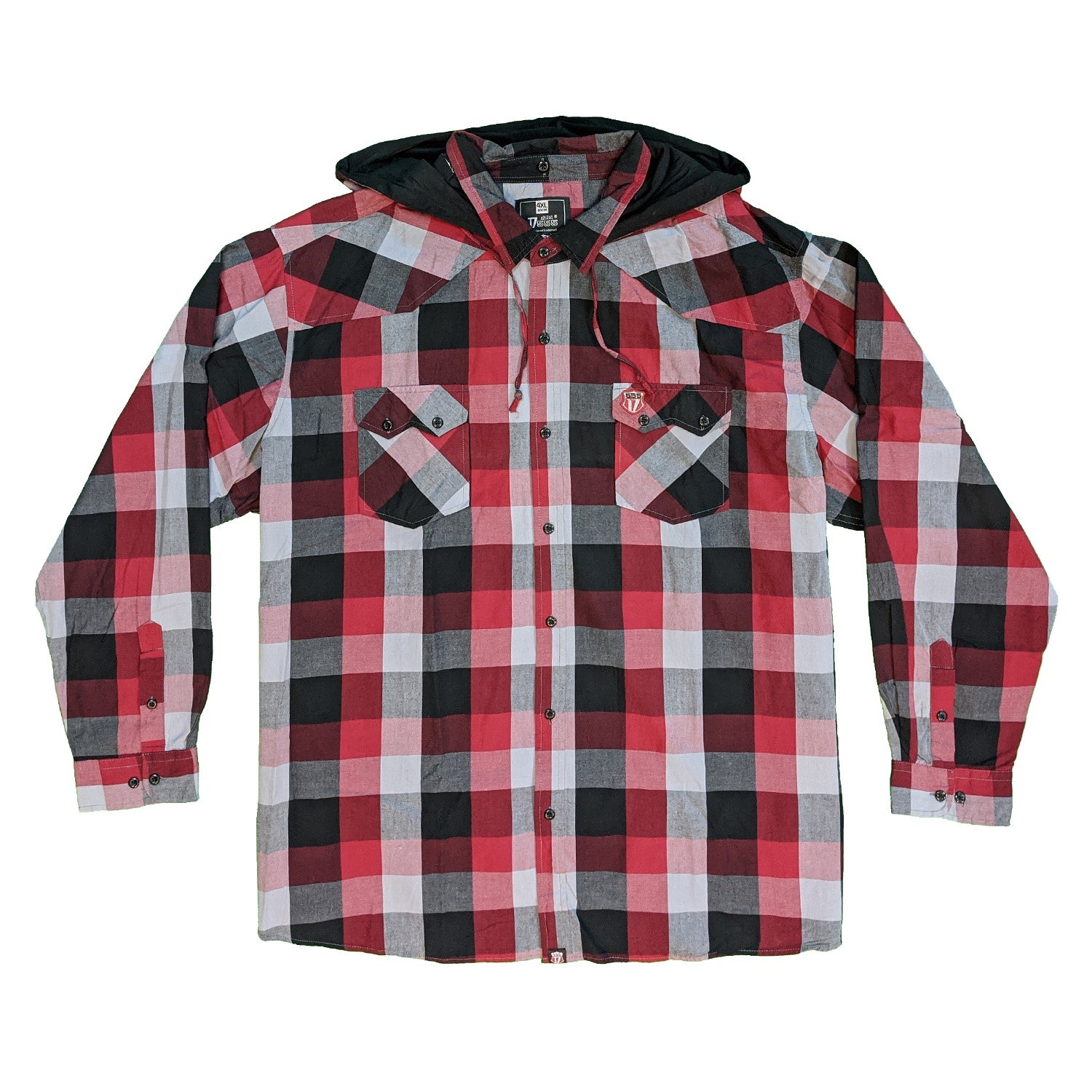 D555 L/S Shirt - KS11042 - Ashton - Red / Black / Grey 1