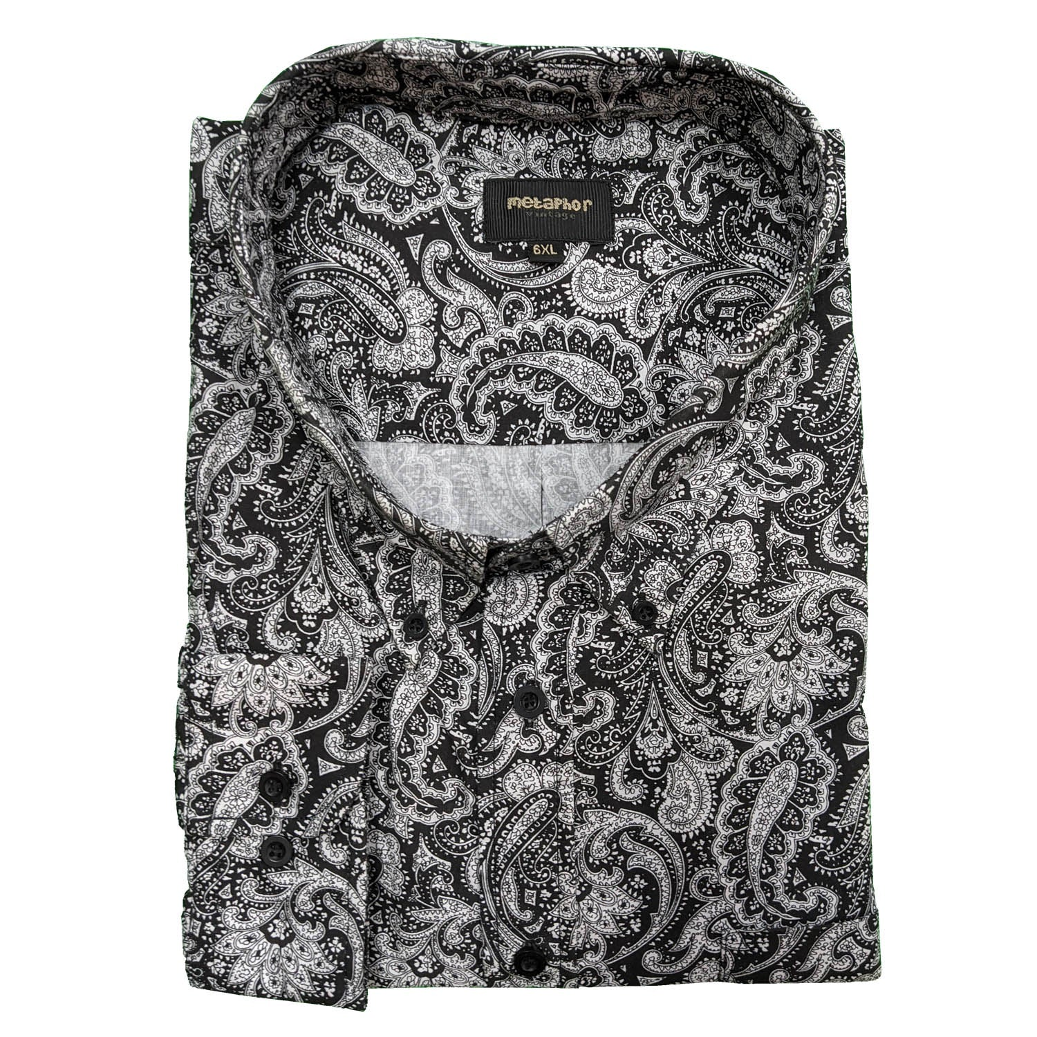 Metaphor L/S Paisley Shirt - 15494 - Black / White 1
