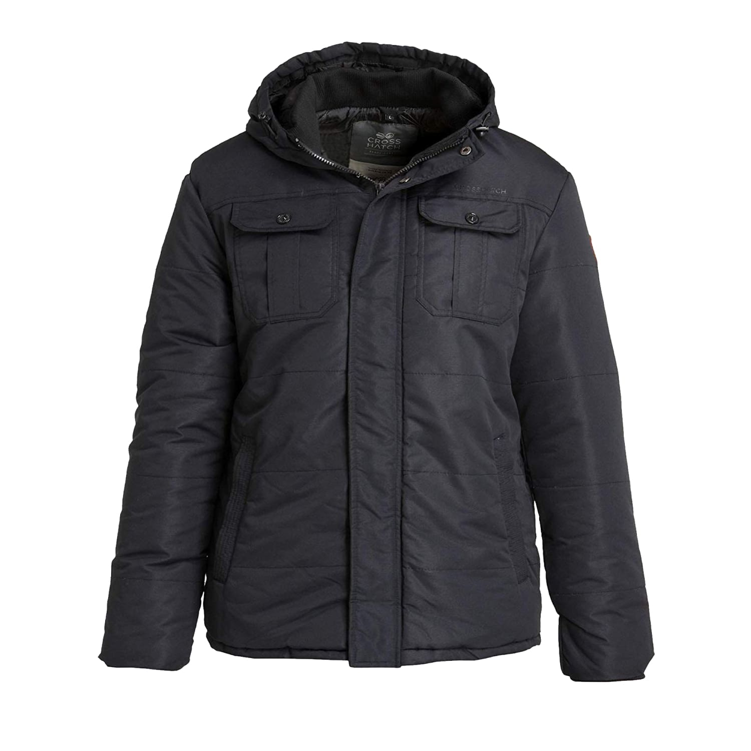 Crosshatch Padded Jacket - Beekham - Black 1