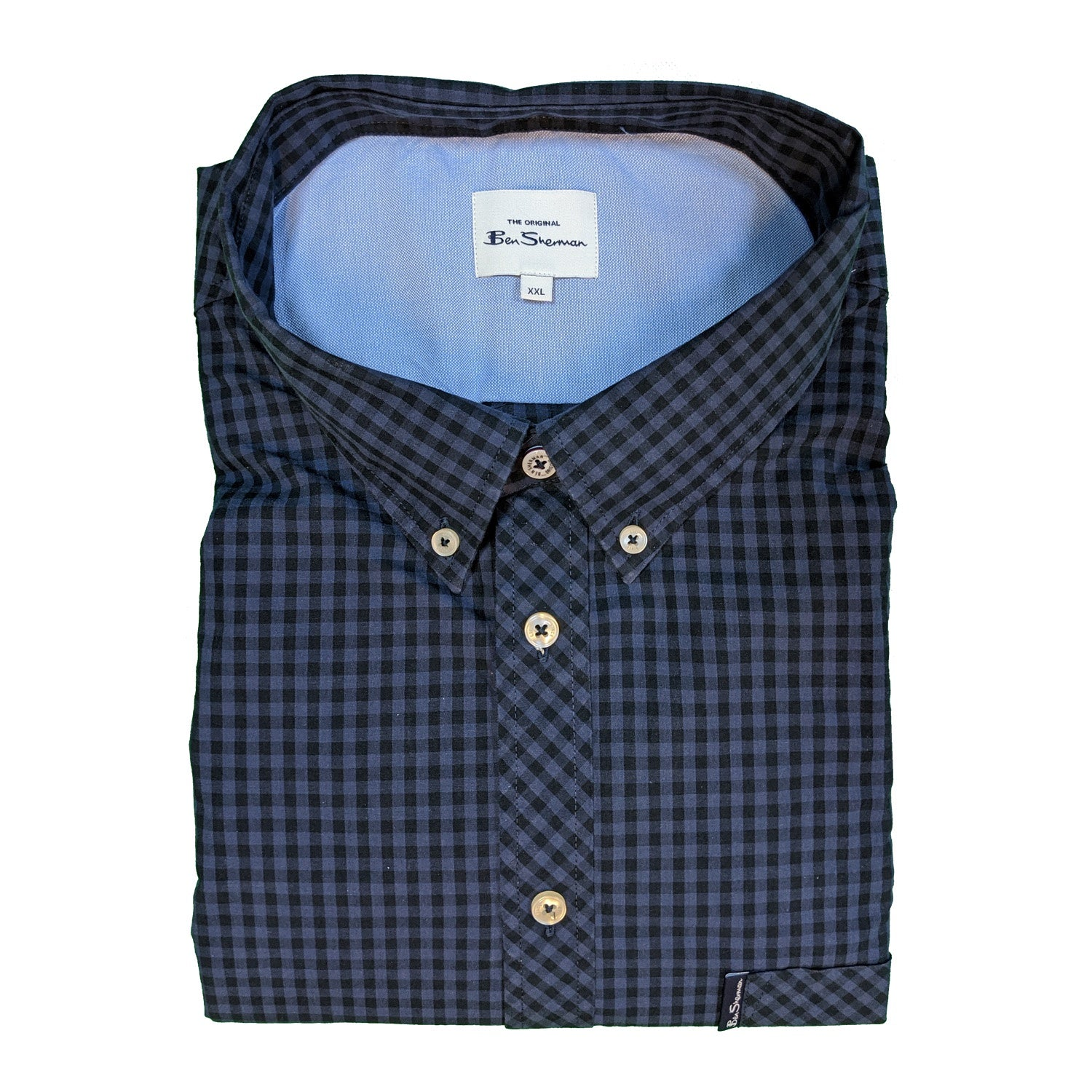 Ben Sherman S/S Shirt - 0059142IL - Blue / Grey 1