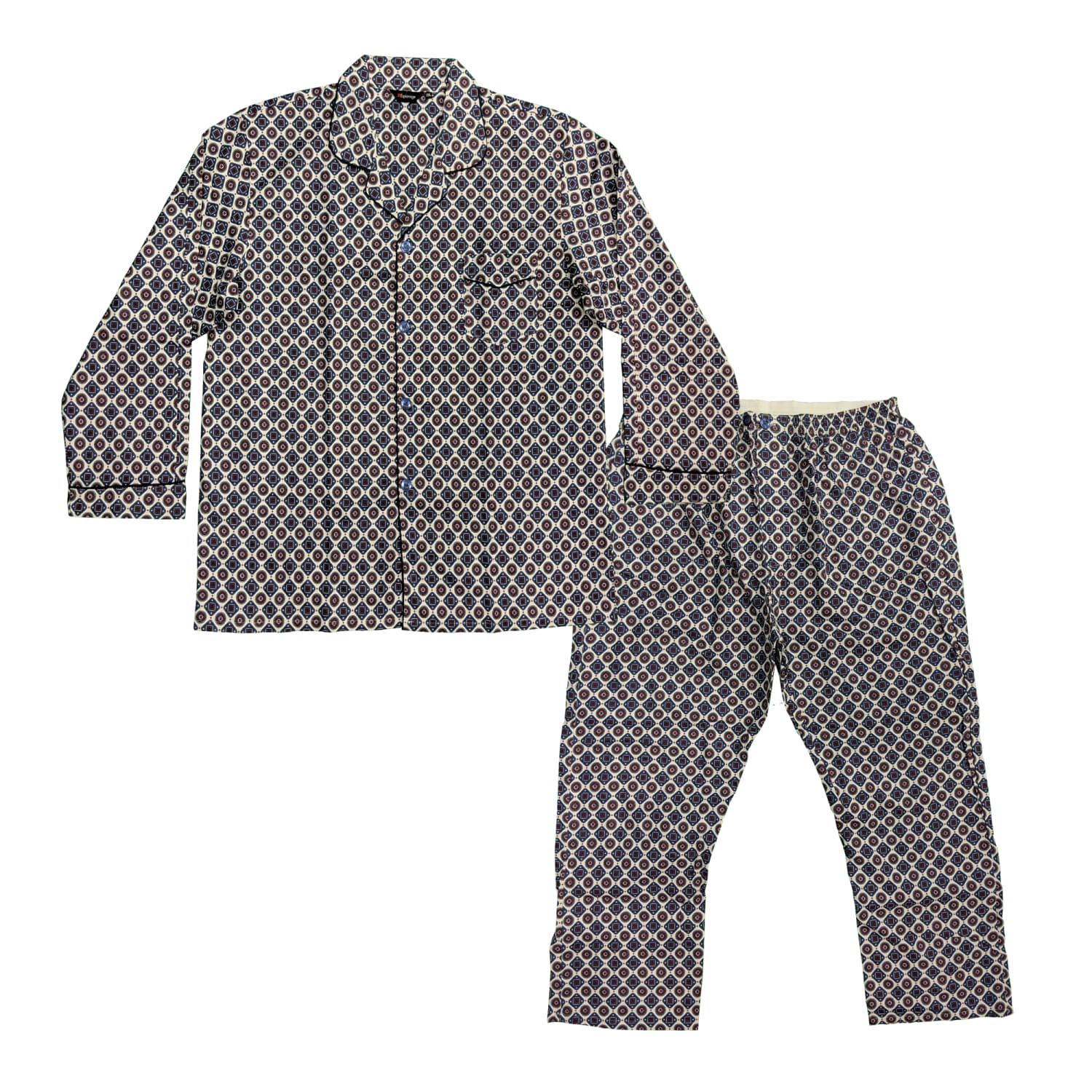 Espionage Brushed Cotton PJs (Shirt & Trousers) - PJ055 - White / Blue / Red 1
