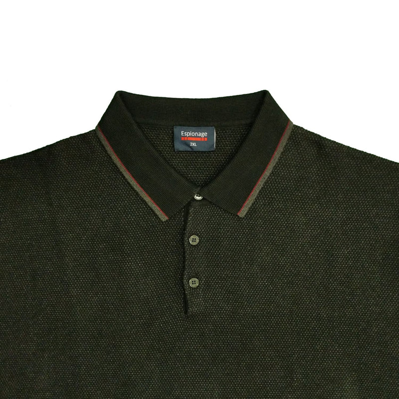 Espionage Contrast Knit Polo - KW056 - Charcoal 1