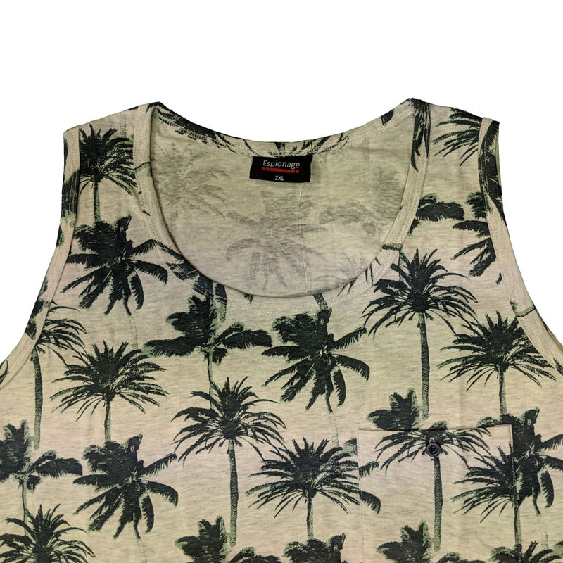Espionage Palm Print Vest - T270 - Grey 1