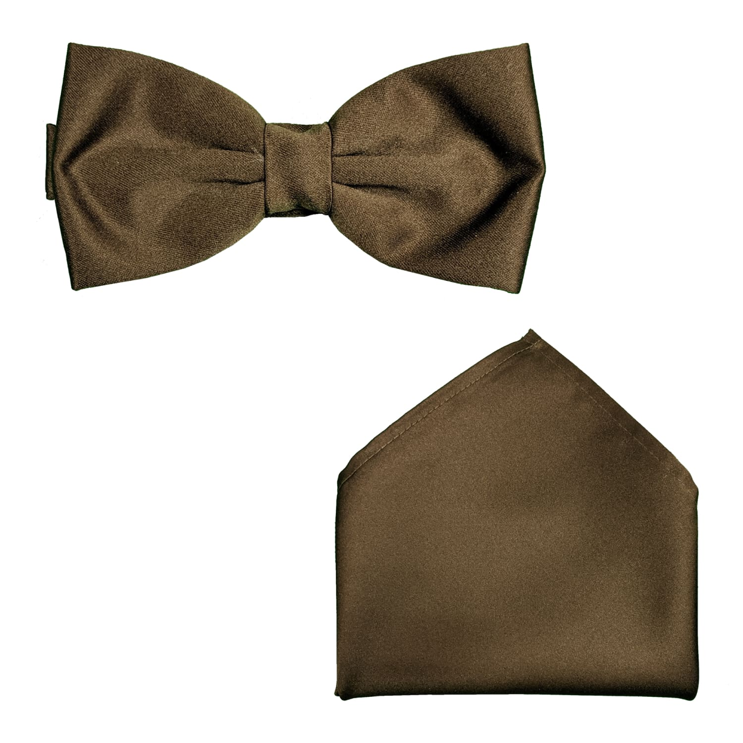 Folkespeare Bow Tie & Pocket Square Set - BK0030 - Chocolate 1