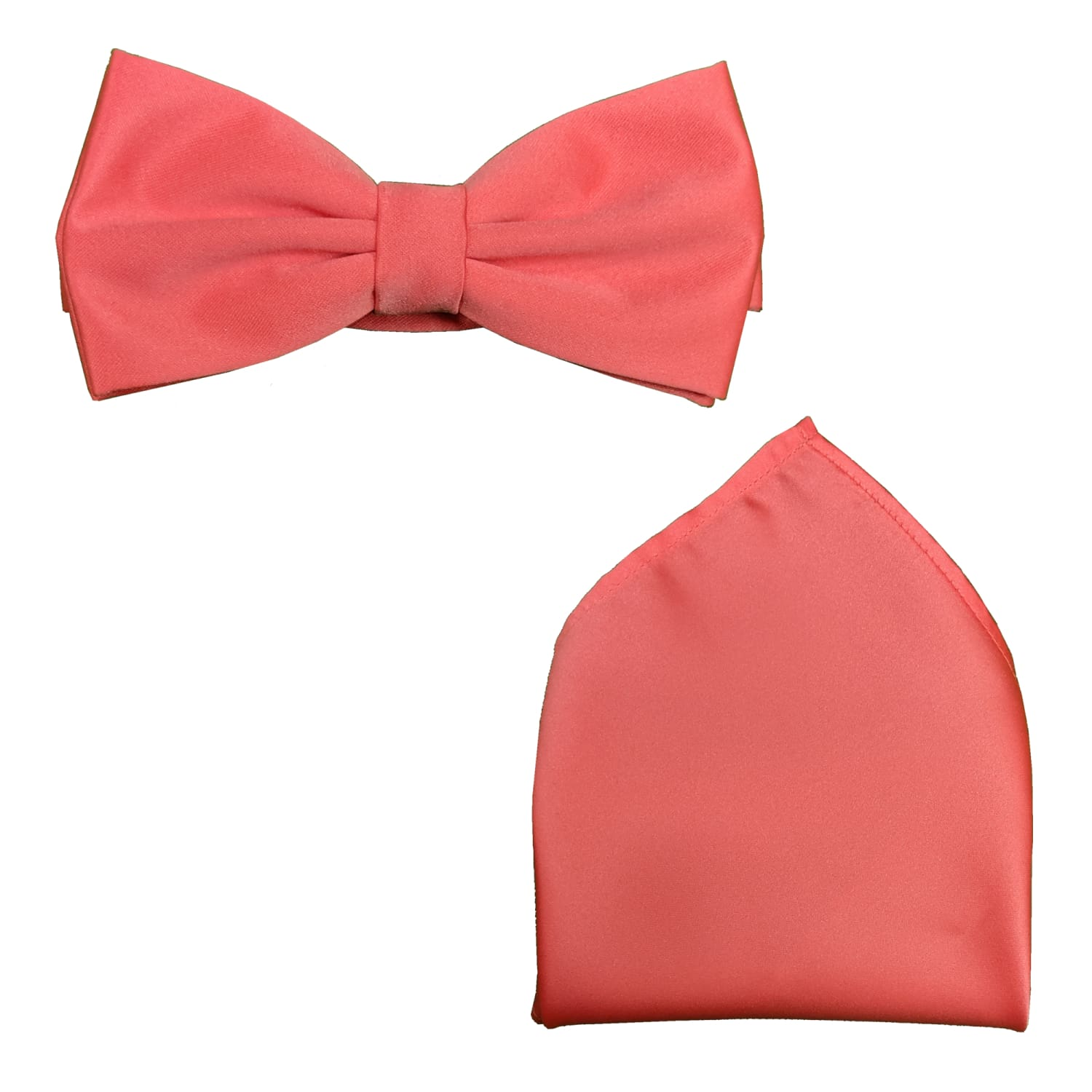 Folkespeare Bow Tie & Pocket Square Set - BK0030 - Coral 1