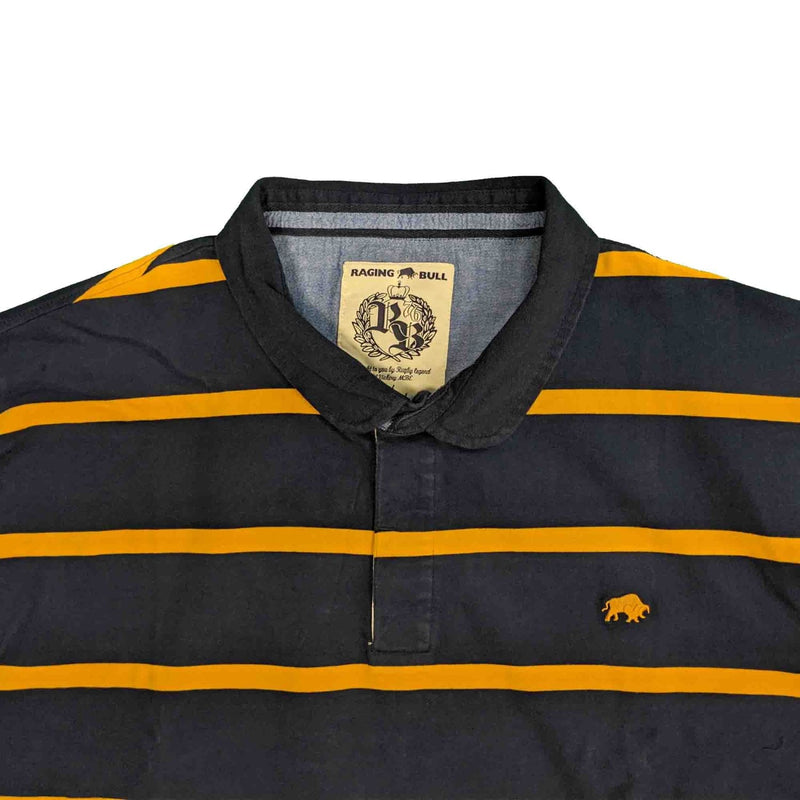 Raging Bull L/S Stripe Rugby Polo - A19RU29 - Navy / Yellow 1