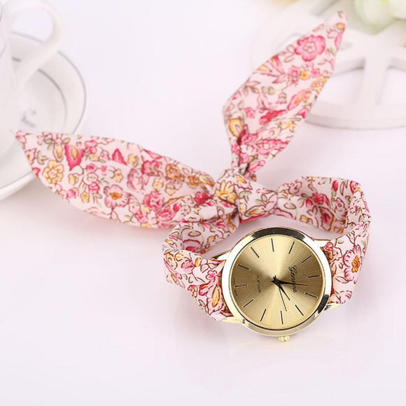 Bloemen doek quartz wijzerplaat armband polshorloge - Ever After Eden