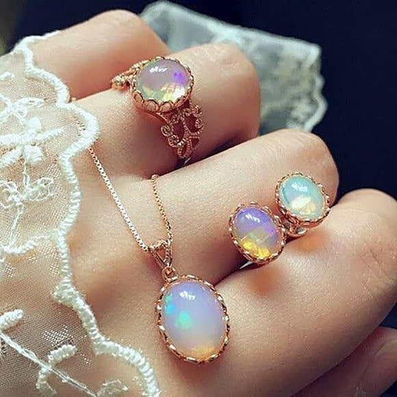 Opal ketting ring oorknopjes set - Ever After Eden