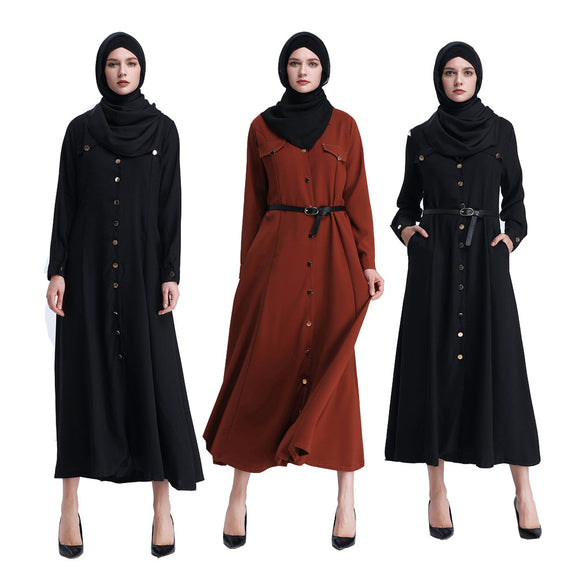Elegant casual metalen gesp lange mouw abaya jurk - Ever After Eden
