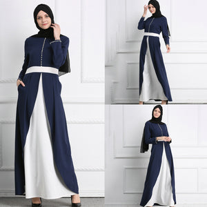 Lange blauw wit stiksels jurk abaya - Ever After Eden