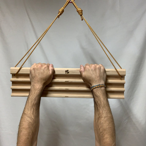 Custom wood hangboards for climbing training made from cherry wood
