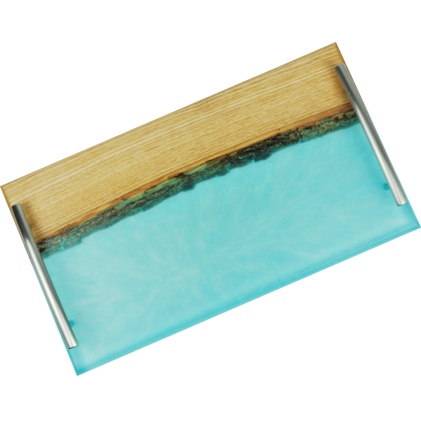 Live Edge Epoxy - Ash Wood Cutting Board - Serving Board - Food Safe Resin - Serving Platter - With Handles