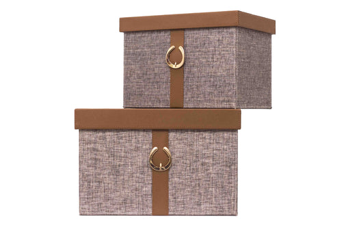 Brown and Grey Storage Boxes