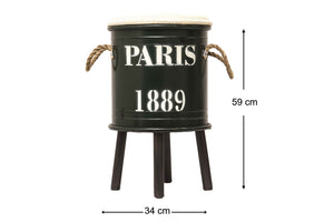 Paris 1889 Olive Green Decor Drum