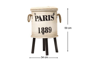 Paris 1889 Decor Drum - Ivory White