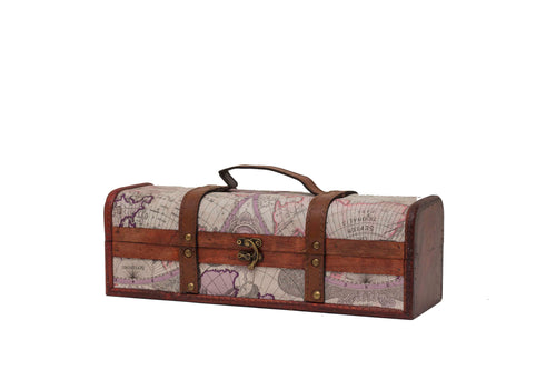Vintage Map Briefcase Wine Box