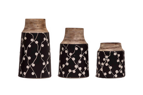 Hand Decorated Vase - Set Of 3