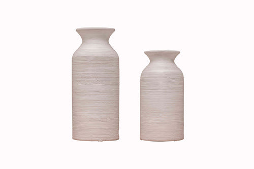 Ceramic Round Bottle Neck Vase - Set Of 2