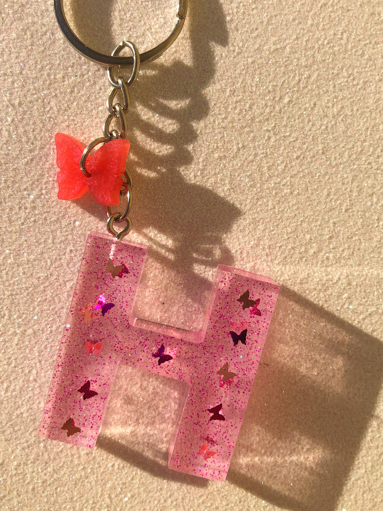 PINK BUTTERFLY LETTER KEYCHAIN