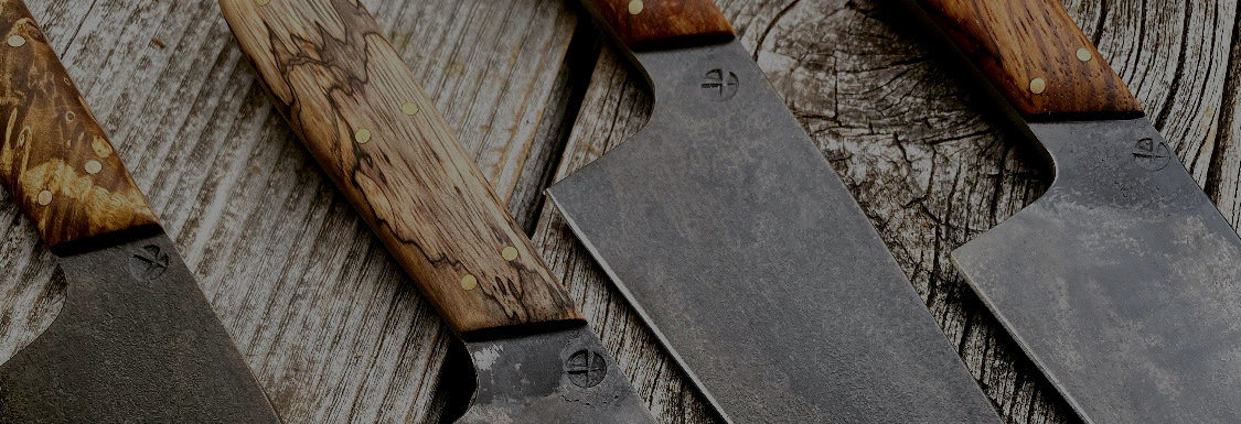 Carbon steel kitchen knives. Chef's knife, Utility knife, paring knife. Handmade kitchen knives.