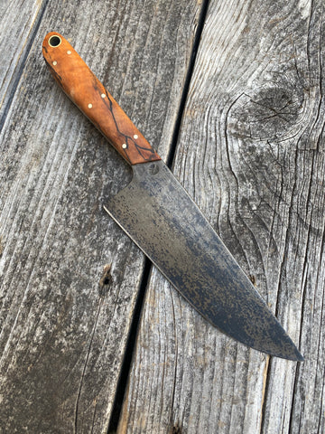 "Carbon steel Western Kitchen Utility Knife 5.5"" — Spalted Maple & Brass - Redroot Blades 