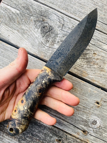Dark blade. Carbon steel Western Bushcraft — Buckeye Burl & Brass - Redroot Blades | Portland, Oregon. woods knife, camping, bushcraft knife.
