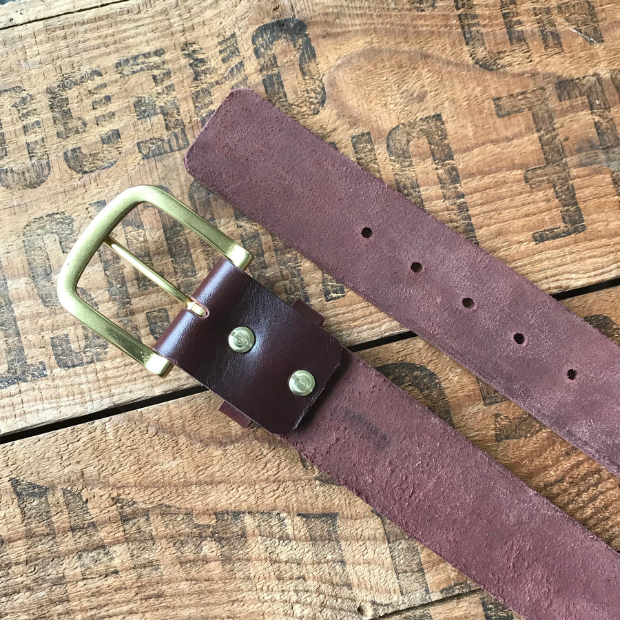 Heavy Duty Leather Belt — Burgundy Latigo & solid brass - Redroot Blades | Portland, Oregon