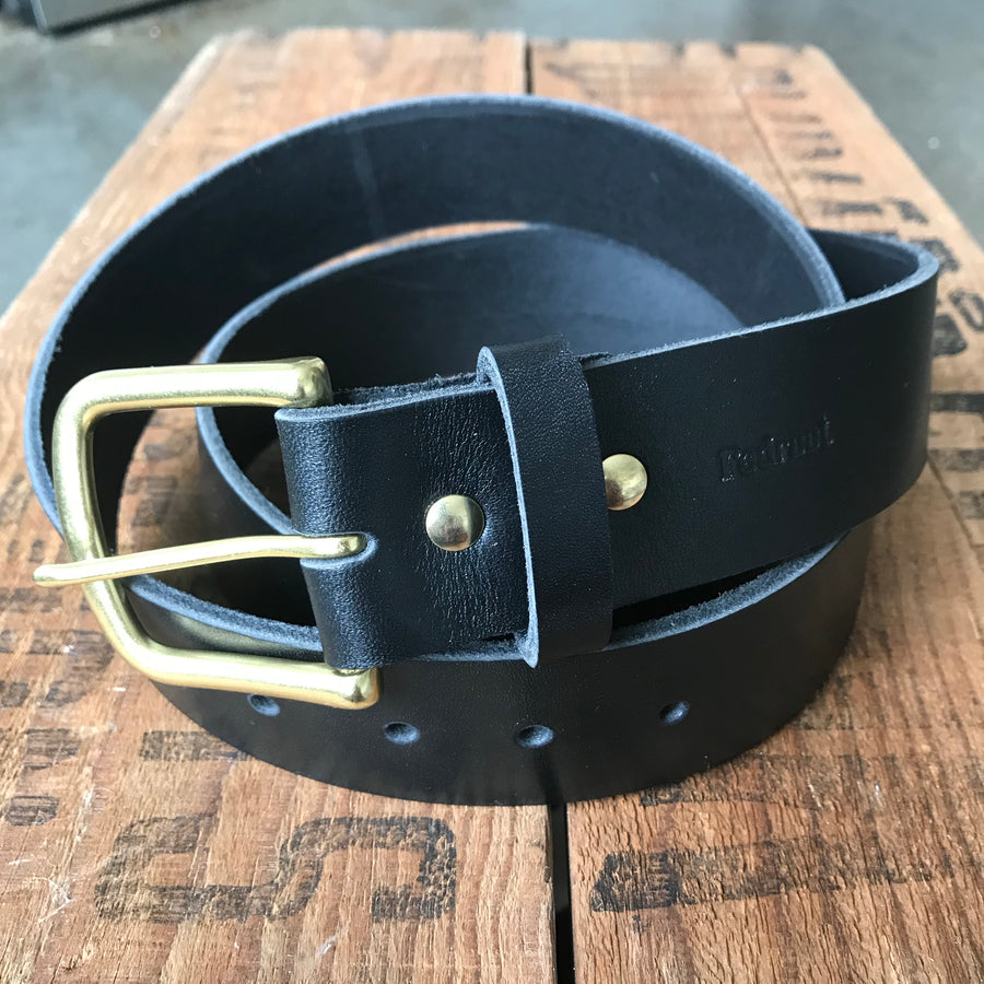 Heavy Duty Leather Belt — Black Latigo & solid brass - Redroot Blades | Portland, Oregon