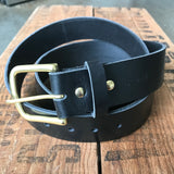 Heavy Duty Belt — Black Latigo / solid brass - Redroot Blades | Portland, Oregon