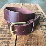 Heavy Duty Belt — Burgundy Latigo & solid brass - Redroot Blades | Portland, Oregon
