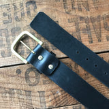 Heavy Duty Belt — Black Latigo & solid brass - Redroot Blades | Portland, Oregon