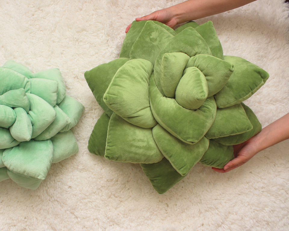 Big Pop - Succulent Plush Pillow - Olive Green