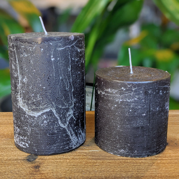 Rustic Pillar Candle - Black