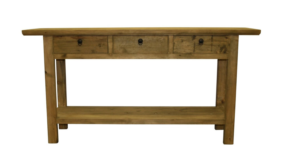 3 Drawer Console with Shelf - Recycled Elm