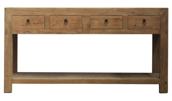 4 Drawer Console With Shelf - Recycled Elm